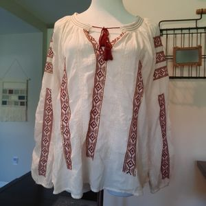 •SOLD• American Eagle Boho Embroidered Ivory Top